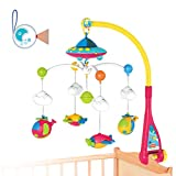 Baby Musical Crib Mobile Toy Cot Mobile Toy Gentle Rotating Motion Soft Starlight Soothing Songs with Remote Control for Baby Boys and Girls
