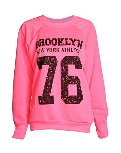 Fast Fashion - Sweatshirt Haut Brooklyn 76 Los Angeles Et Work Out Imprimer Toison - Femmes Brooklyn 76 Rose Fluo