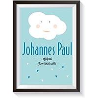 """Geburtsgeschenk Bild """"Wolke/Blau"""" personalisierter Kunstdruck mit Namen, ungerahmt. DIN A4 Poster, Wand Deko für Kinderzimmer, Babyzimmer. Süße Geschenkidee zur Geburt, Taufe, Newborn Baby Geschenke Jungen Wandbild Wanddeko einzigartig"""