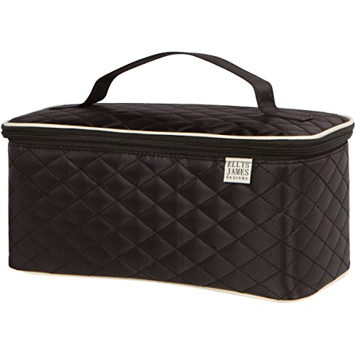 Ellis James Designs Large Travel Makeup Bag Organiser – Cosmetic Train Case Toiletry Bags for Women – Black – with Handle & Make Up Brush Holders – Professional Hair Dryer Cases and Beauty Storage