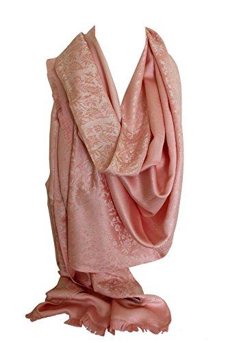 Qualité deux faces impression libre en relief Pashmina sensation Wrap écharpe étole châle Rose et crème