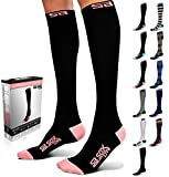 SB SOX Lite Compression Socks (15-20mmHg) for Men & Women - Best Stockings for Running, Medical, Athletic, Edema, Diabetic, Varicose Veins, Travel, Pregnancy, Shin Splints, Nursing. (Black/Pink, S/M)