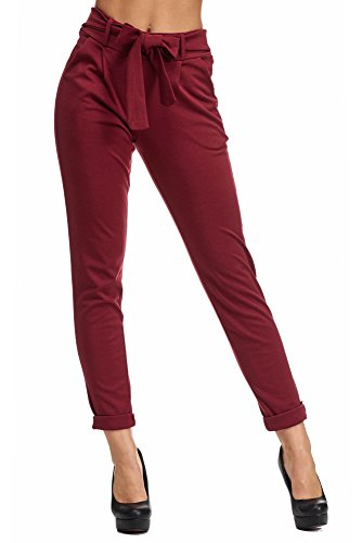 JillyMode -  Pantaloni  - Basic - Donna A1216-Bordeaux