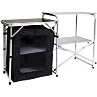 Charles Bentley Folding Camping Kitchen Stand Storage Unit Outdoor Cooking - Lightweight Portable Sturdy Aluminium Frame