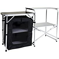 Charles Bentley Folding Camping Kitchen Stand Storage Unit Outdoor Cooking - Lightweight Portable Sturdy Aluminium Frame 1