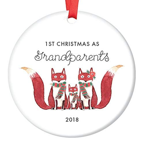 WSMBDXHJ Dekofigur für Großeltern 2018, Fuchs, Geschenk für Oma und Opa, erste Weihnachten, Großmutter, Großvater, süßes Fuchs, Andenken