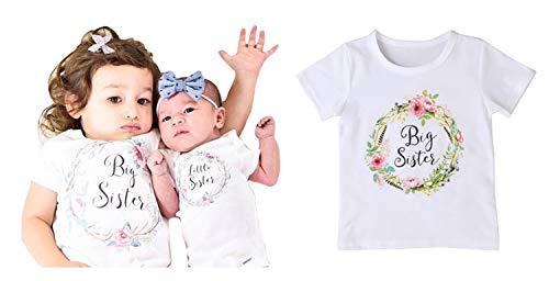 Piccoli monelli t-shirt big sister little sister maglietta regalo per sorella maggiore e minore coordinato famiglia cm 90 2-3 anni bambina bianco