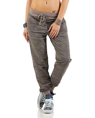 Zarmexx trendy Damen Sweatpants Baggy Boyfriend Freizeithose Jogginghose Baumwolle Sporthose Loose fit (Einheitsgröße: Gr. 36-40, Cappuccino)