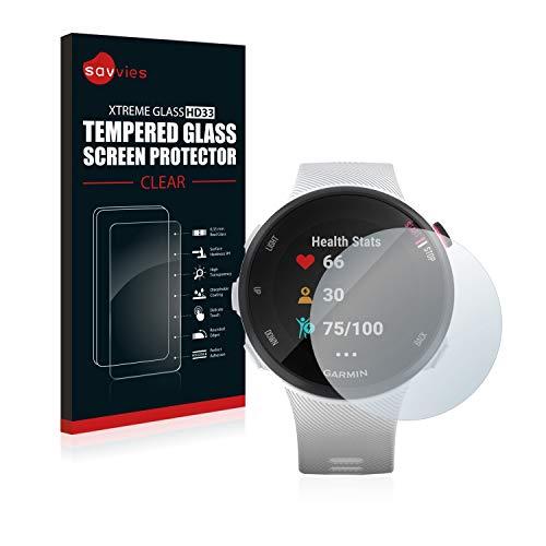 savvies Cristal Templado Compatible con Garmin Forerunner 45S Protector Pantalla Vidrio Proteccion 9H Pelicula Anti-Huellas