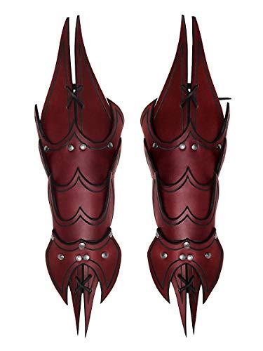 Andracor - Schuppen Armschiene Dämon - ausgefallener Armschoner aus Leder mit Handschutz und Spikes - Rot - LARP Mittelalter Steampunk & - Assassins Creed Kostüm Rot