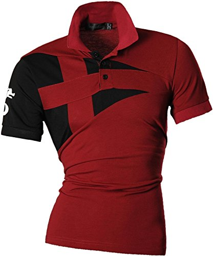 jeansian Herren Freizeit Slim Fit Short Sleeves Casual POLO T-Shirts U009 WineRed