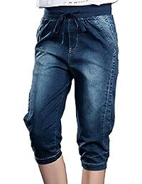 Bestor Mode Plus Size Denim Jeans Corsaires stretch Skinny Jeans Pantalons pour femmes avec Cordon de serrage taille