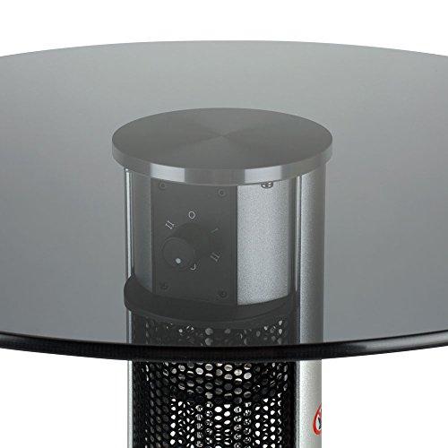 Stehtisch mit Infrarot-Heizstrahler – Tischplatte Glas – zweistufig regelbar – 800/1600 W – 80 cm Tischplatte und Edelstahl Fußreling – Terrassenstrahler mit Infrarotheizung, Stehtisch mit Infrarotheizung, inkl. Speditionsversand (bitte Telefon-Nr. in Bestellung angeben) - 2