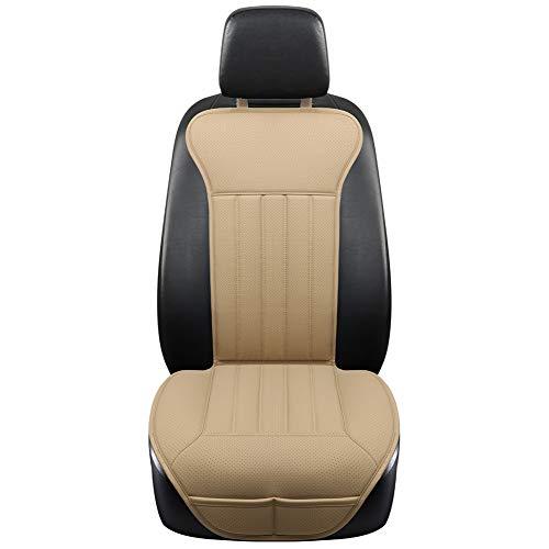BLACK PANTHER Coprisedile Auto, Accogliente Coprisedile Universale Auto Pelle, Anti Scivolo Coprisedile Singolo con Schienale (1PC-Beige)