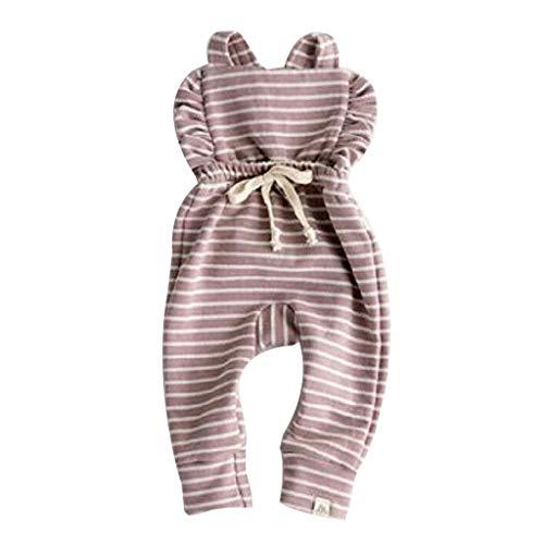 Baby Mädchen Pwtchenty Gekräuselte Blumen Bodys Outfits Backless Gestreifte Rüsche Bodysuit Strampler Overall Outfit Set Kleidung ()