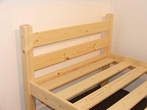 Heavy Duty Single 3ft Wooden Pine Bed Frame - Can be used by Adults - Strong siderail support legs included