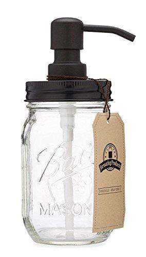Jarmazing Products Mason Jar Soap Dispenser - Black - With 16 Ounce (473 mL) Ball Mason Jar
