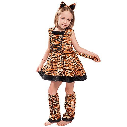 EraSpooky Mädchen Tiger Kostüm Faschingskostüme Cosplay - Halloween Party Karneval Fastnacht Tierkostüm