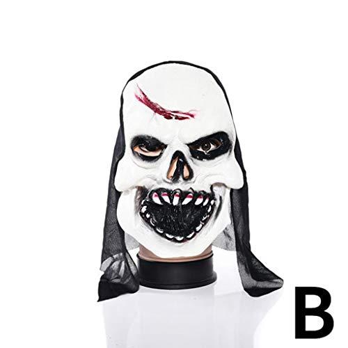 Xiaodu Halloween Maske Latex Mann Spuk Haus Verkleiden Prom Room Escapes Horror Zombie Maske 6,B