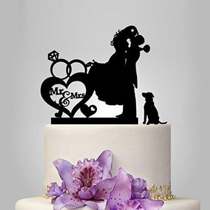 Mr e Mrs in Cuore con coppie anelli sposa e sposo silhouette con cane acrilico Wedding Cake Topper