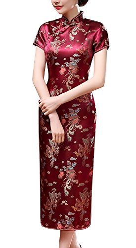 Laogudai Damen Kurzärmelig Chinesisch Etuikleider Traditional Cheongsam Brokat Langkleid Abendkleider Partykleider Rot-2XL