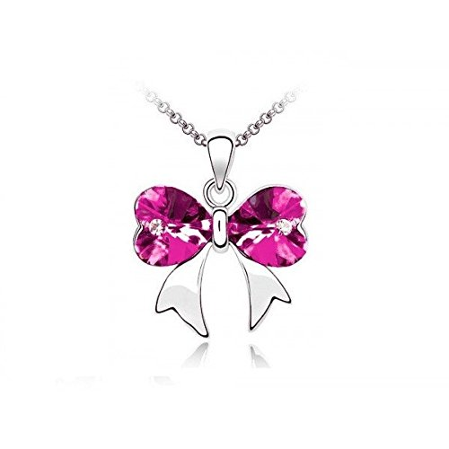 Collier noeud coeur cristal swarovski elements plaqué or blanc Rose