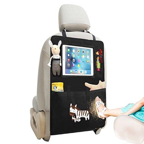 Organizador del asiento de coche / Protector de asiento trasero / Kick Mat con Pantallas táctiles para iPad para niños y viaje en coche, Uso múltiple como Anti Kicking Mat & Protector de asiento automático (Cebra)