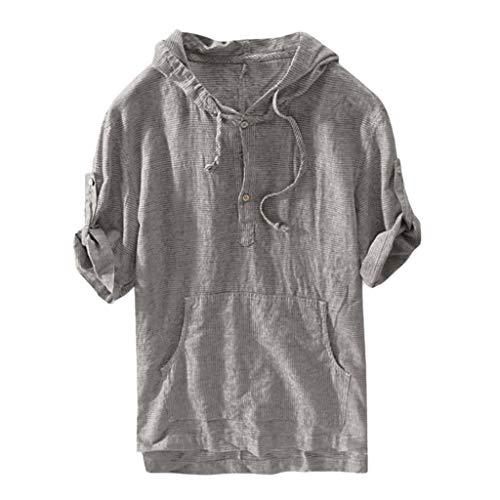 Fenverk Herren Hemd Kurzarm Button Sommer Regular Fit Freizeithemd Casual T-Shirt Mit Kapuze mit Tasche(Dunkelgrau,XL) (Yoshi Kostüm Hoodie)