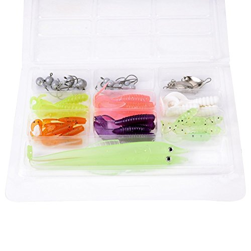 Tbest señuelo de Pesca Kits,44 Pcs Señuelos de Pesca Cebos Suaves Ganchos Swiveling Plate Set Tackles Kit Caja Accesorio