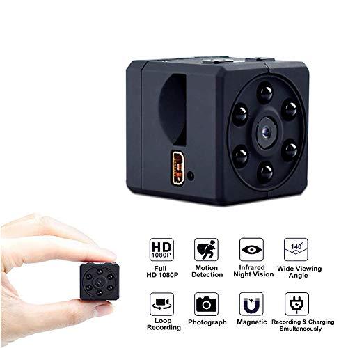 Haisito Portátil 1080P Full HD Mini Cámara Espía Oculto Infrarojos Visión Nocturna Nanny CAM Grabadora de vídeo Videocámara de Seguridad Cámara de vigilancia pequeña con Detector de Movimiento