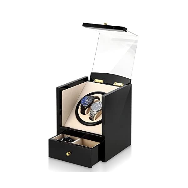 Automatic Watch Winder Box Luxury Wooden for 2 Wrist Watches + 2 Storage Case 411Cy6oNQkL
