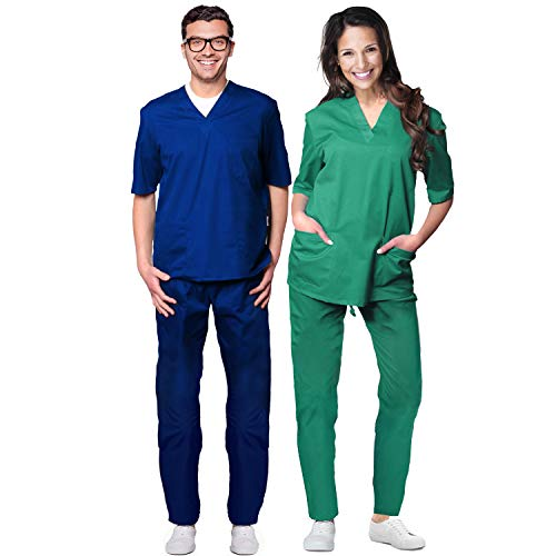 Aiesi divisa ospedaliera unisex uomo donna in cotone 100% sanforizzato pantaloni + casacca scollo a v - sanitaria medicale per medico infermiere oss estetista made in italy - l verde ospedaliero