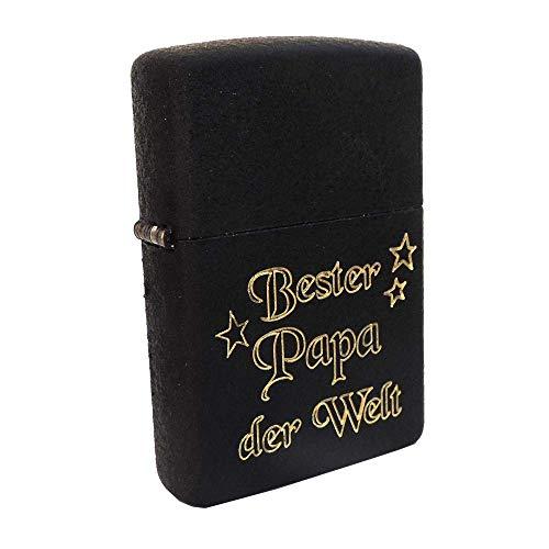 Zippo Crackle Briquet Zippo Original Robuste Noir Zippo avec Gravure SOFORTGRAVUR + Avant : Gravure sur Le Devant Papa du Monde