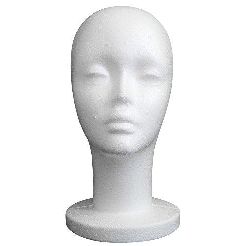 LIGEsayTOY Perücke Styropor Kopfmodell Perückenständer Perückenkopf Hutständer Wig Styrofoam Head Model Damen Lange Halter Plastik Halblang Curly Wurzel Realistischem Stilvoll Weiblich