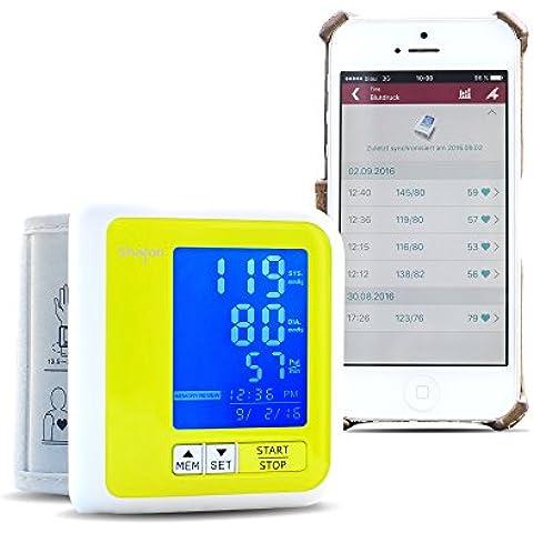 Tensiómetro de muñeca Sharon con Bluetooth integrado |Batería recargable por cable micro USB | Aplicación MedM App gratuita en Google Play Store para IOS (7.0), Android (4.3) y Microsoft (Win10)