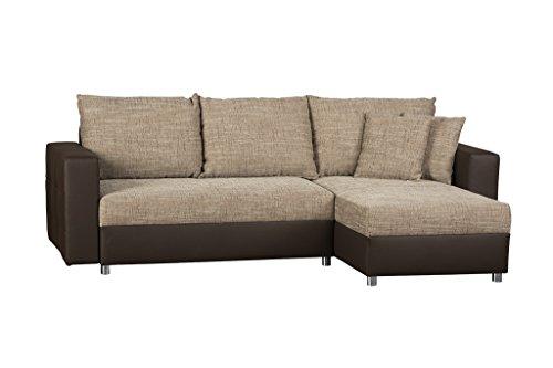 CAVADORE Schlafsofa Caaro mit Recamiere links oder rechts / Couch mit  Schlaffunktion und Bettkasten / Materialmix mit Kunstleder / 233 x 146 x 69 / Hellbraun-Braun