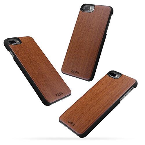 Coque iPhone 8 / 7 PLUS Case - iCASEIT Housse de Protection Bois + PC Bumper Dur Etui Case Hybride en Bois Naturel Cover Coque pour Apple iPhone 8 / 7 PLUS (5.5 Pouces) - DC2209 - Maple Rosewood (DC2209)