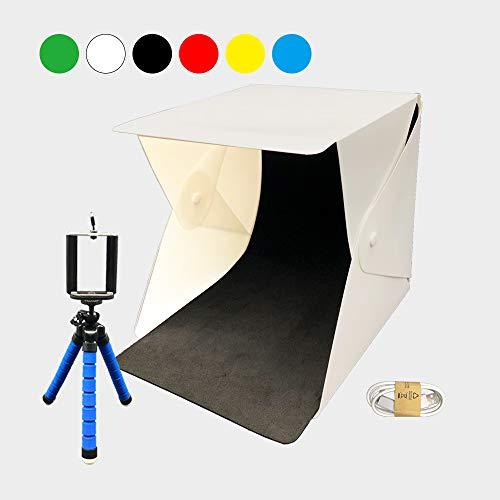 BITEYI Mini Fotostudio mit Beleuchtung 22x24x24cm Portable Faltbare Foto Leuchtkasten Fotografie Studio Lichtbox Kit LED-Licht,4 Hintergrund,Handy-stativ