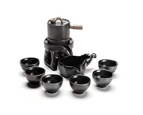 Nwn Tee-Set Retro Japanisch-stly Steinschleifen Kreative Lazy Kung Fu Tee Dickkeramik Voll Halbautomatisches Haushaltsteeset (Color : Black)