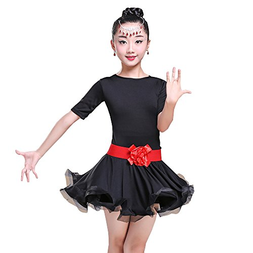XFentech Kinder Mädchen Elegante Tanzkleidung Tango Latein Tanzkleid Übung Wettbewerb Performances Kostüm, Schwarz/130