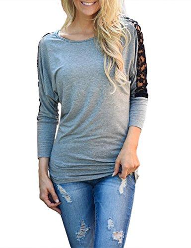 Donna maglietta manica lunga girocollo allentato pizzo Camicetta T-shirt Top casuale partito per le donne (ga,m)