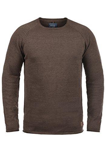 Blend John Herren Strickpullover Feinstrick Pullover Mit Rundhals Und Melierung Aus 100% Baumwolle, Größe:S, Farbe:Coffee Brown (71507)
