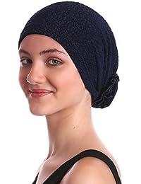 Brokat-Kopfbedeckung Mit Satin-Rose für Haaverlust, Krebs, Chemotherapie
