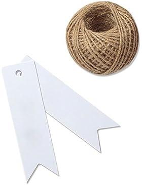 Etiquetas G2PLUS, de papel de estraza, 100 unidades, de 7 x 2 cm, para regalo, bodas, cumpleaños o equipaje, de...