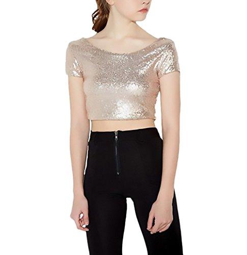 Damen Bluse Sommer Elegant Perfect Pin-up Kurz Unifarben Crop Top Kurzarm Rückenfrei Rundhals T-Shirt Pailletten Glitzernde Oberteile Mädchen Slim Fit (Color : Gold, Size : XS)