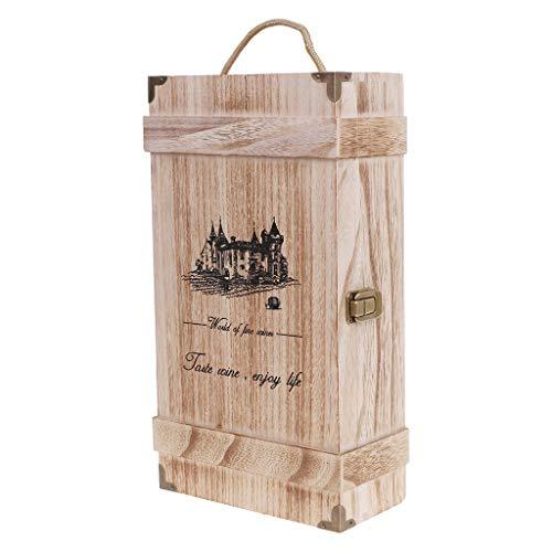 Exing Box für Weinflaschen, Rot, Vintage-Wood 2 Weinkiste aus Holz, für Wein, Geschenkbox, Weihnachten, Geburtstagsfeier, Metall, Siehe Abbildung, B