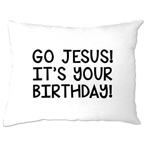 (lustige Weihnachts Kissenbezuge Go Jesus! Es ist dein Geburtstag! White One Size)