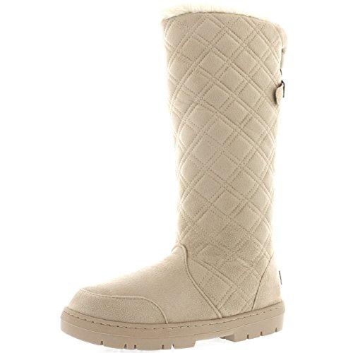 Damen Quilted Twin Strap Back Tall Pelz Gefüttert Schnalle Winter Schnee Regen Stiefel Beige