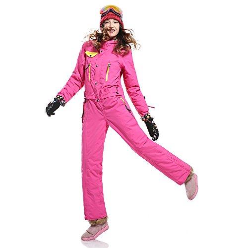 SAENSHING Damen Winter Ski wasserdichte Anz¨¹ge einteilig ausziehen einfach Rose rot
