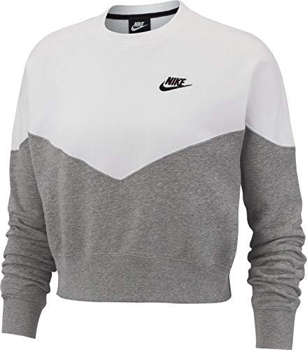Nike Damen W NSW HRTG Crew FLC Long Sleeved T-Shirt, Mehrfarbig (Dk Grey Heather/White/Black/063), M Nike Damen Pullover